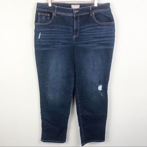 CHICO'S | Dark Wash Distressed Crop Ankle Jeans 14